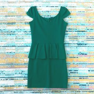 Emerald Peplum Dress, Amanda Uprichard, Size M